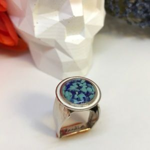 Sterling Silver Lapis Turquoise Inlay Ring